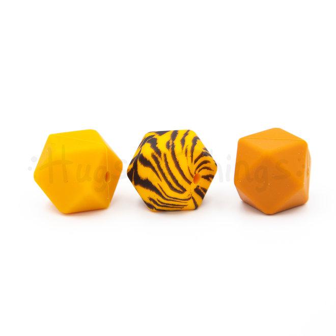Kraal met tijgerprint - Hexagon 17mm
