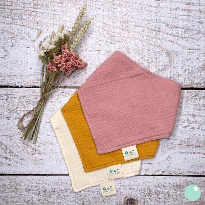 Set van 3 Bandana Bibs - Roze, mosterd, ecru