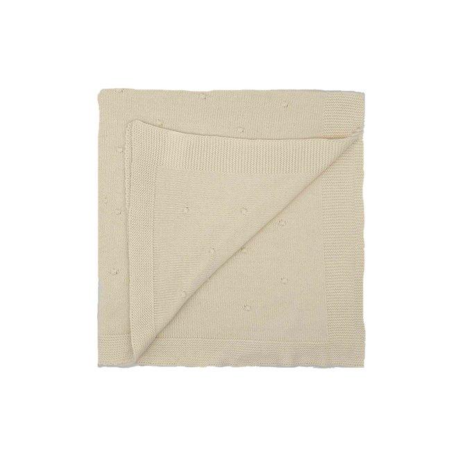 Ecru deken met bolletjes