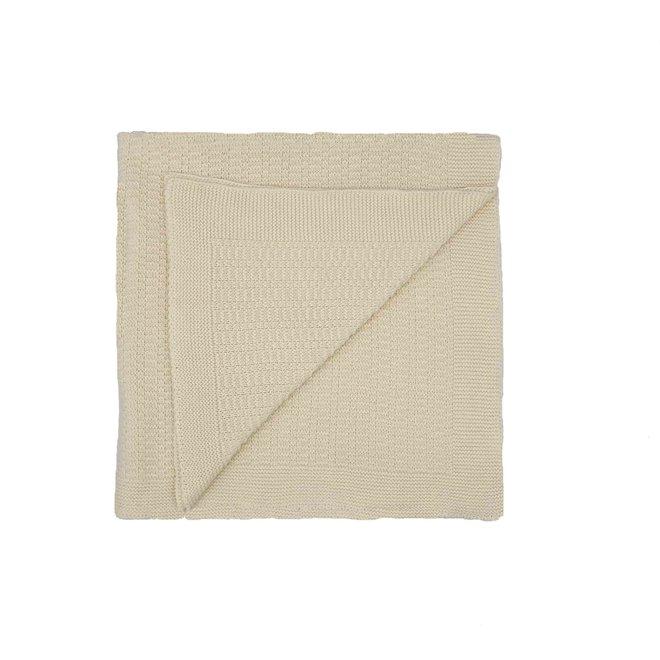 Ecru deken met streepjes