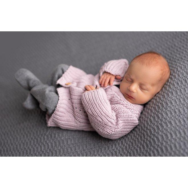 Gebreid babyvestje - Roze/Lila