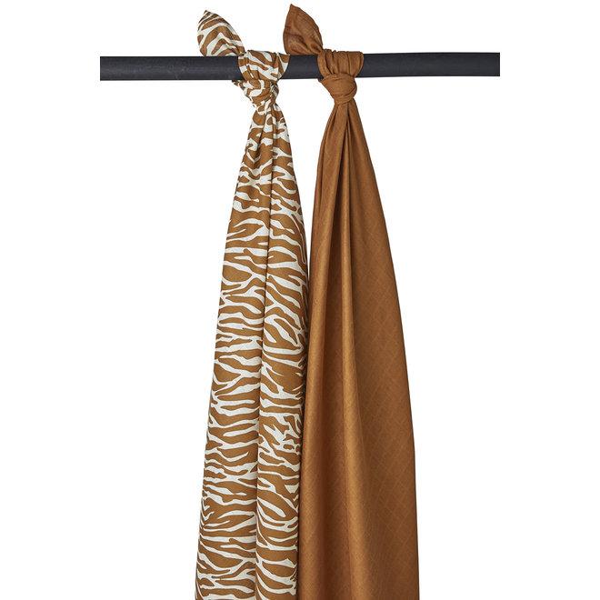 Hydrofiele Swaddles 120x120 - Zebra/Camel (set van 2)
