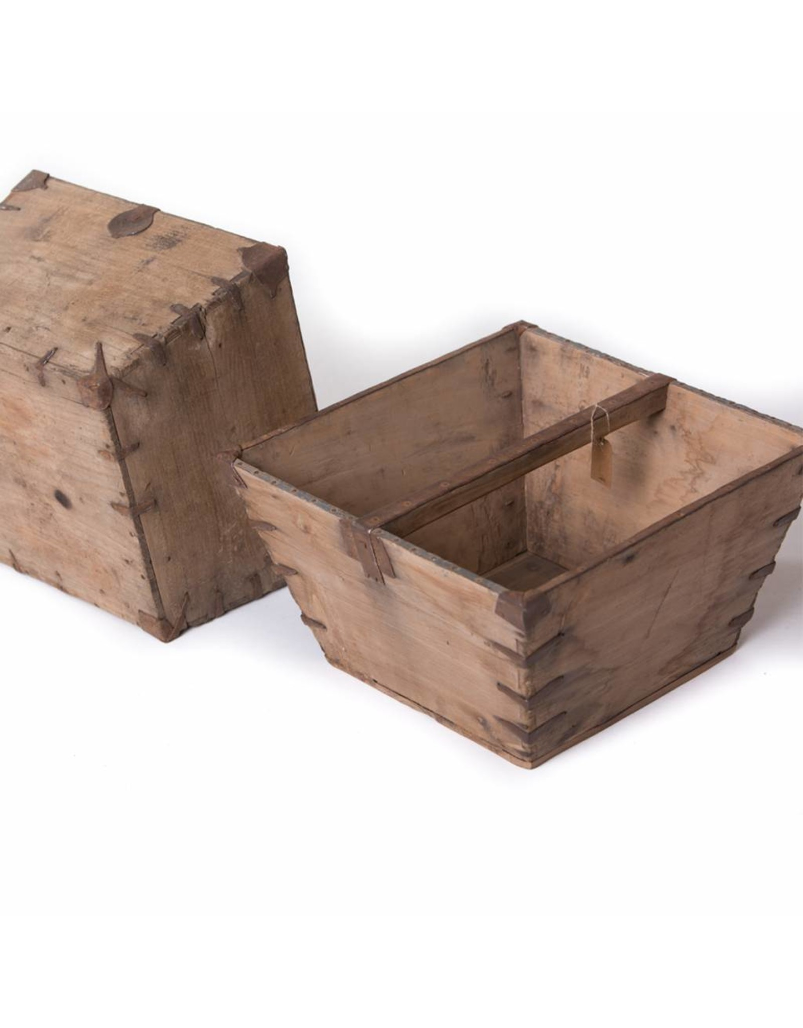 Old wooden rice container - square