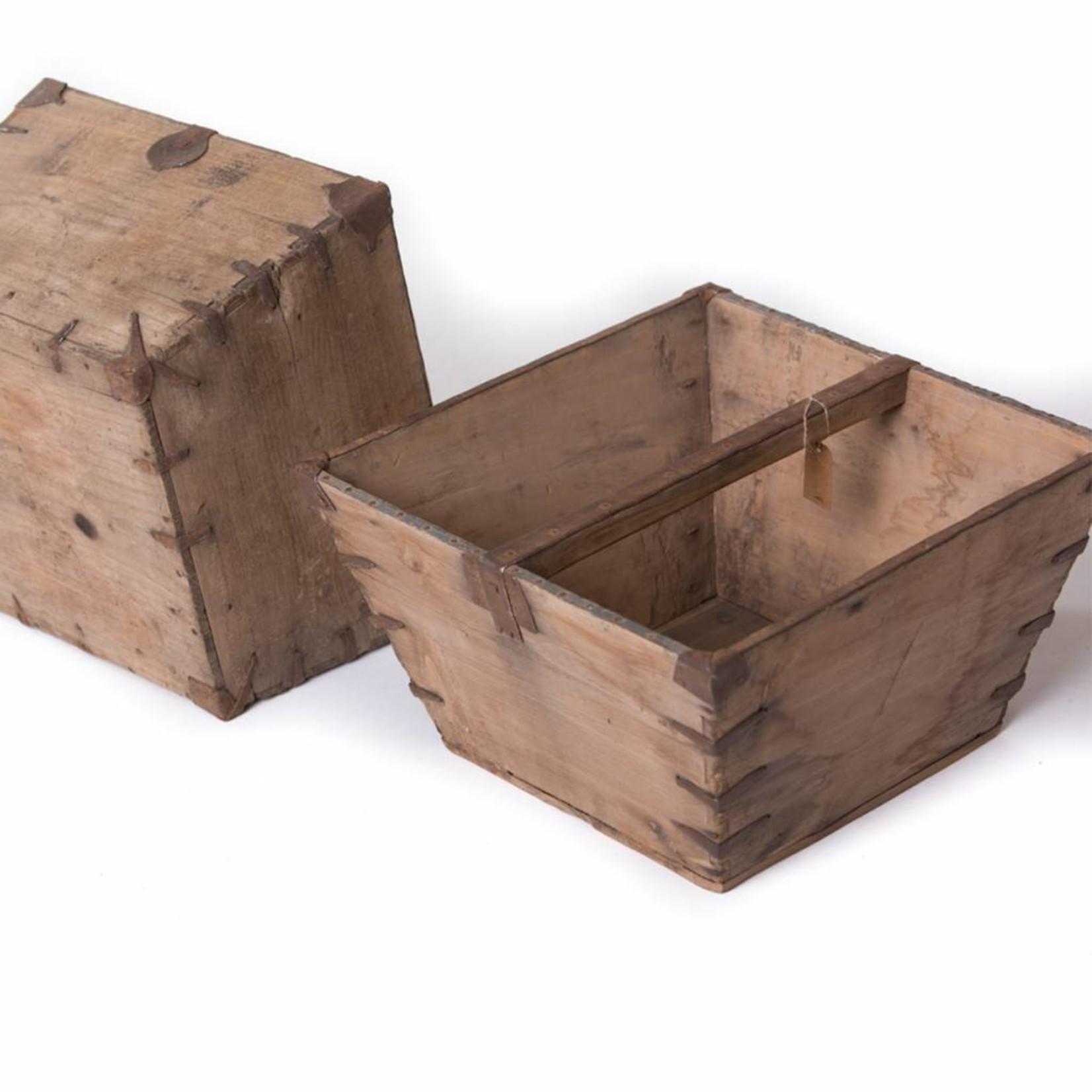 Oude houten rijstmaat  - recht