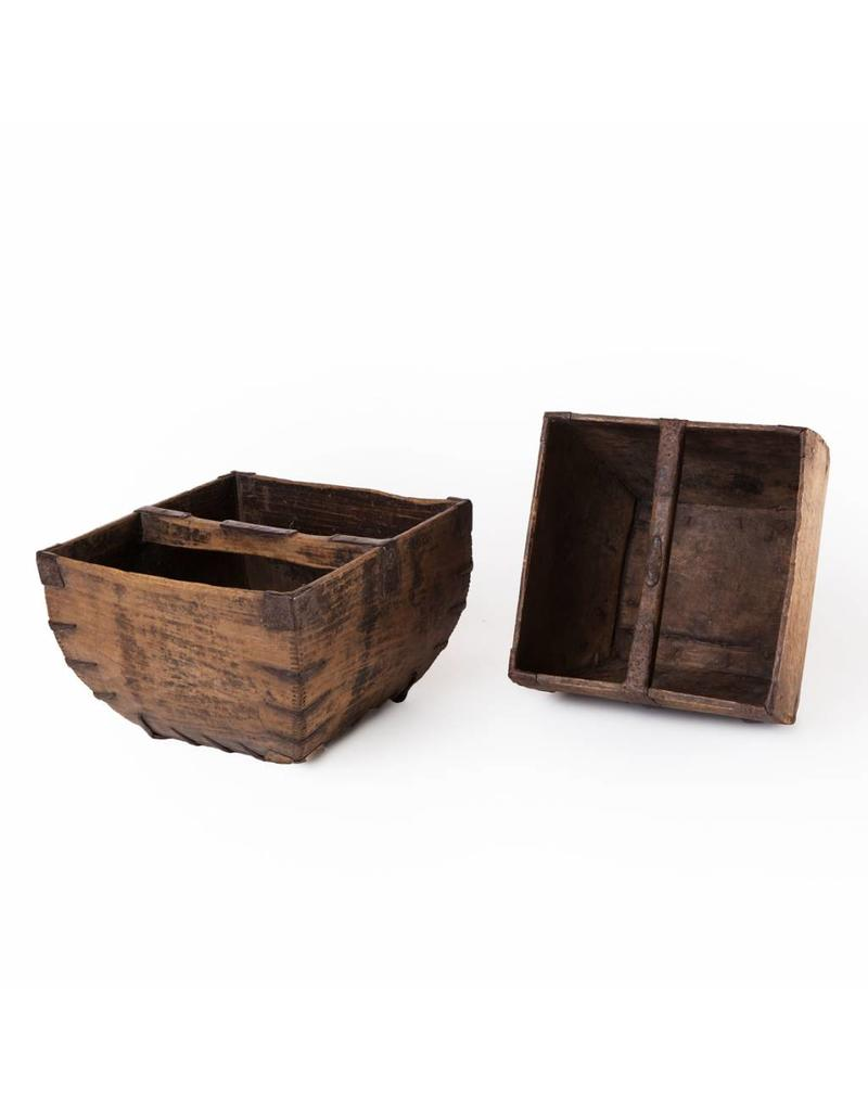 Old wooden rice container