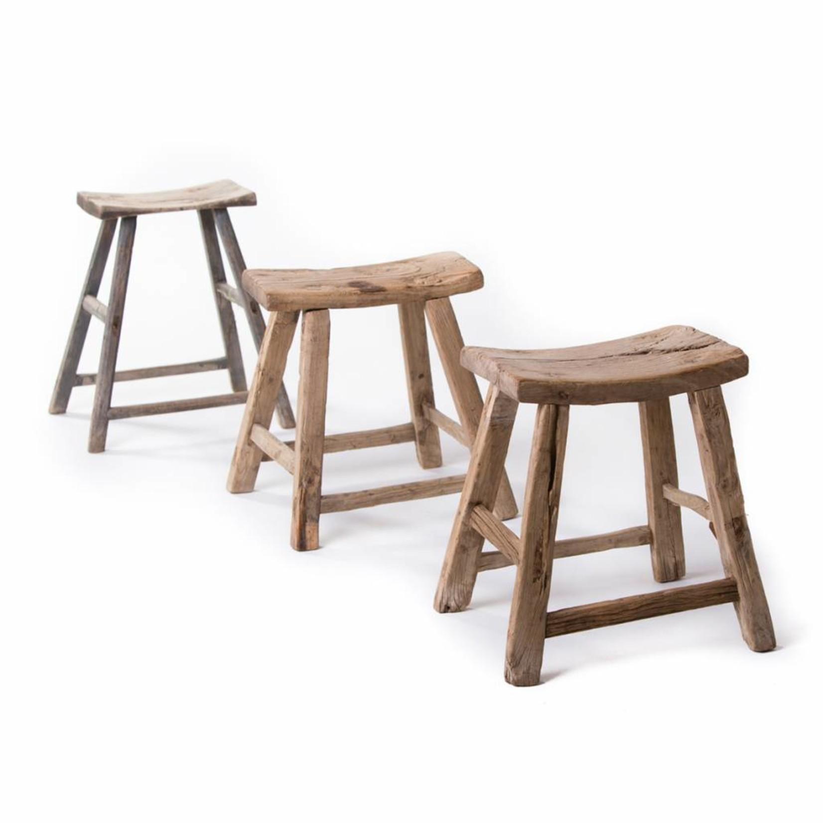 Old Chinese vintage wooden saddle stool