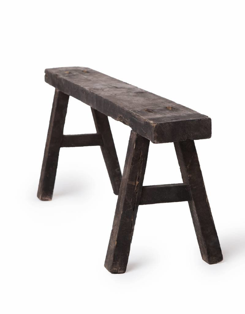 Antique Chinese small black wooden benches