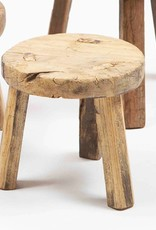 Small round wooden stool