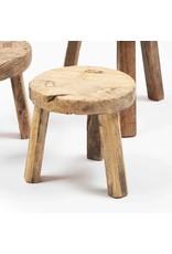Klein rond houten krukje