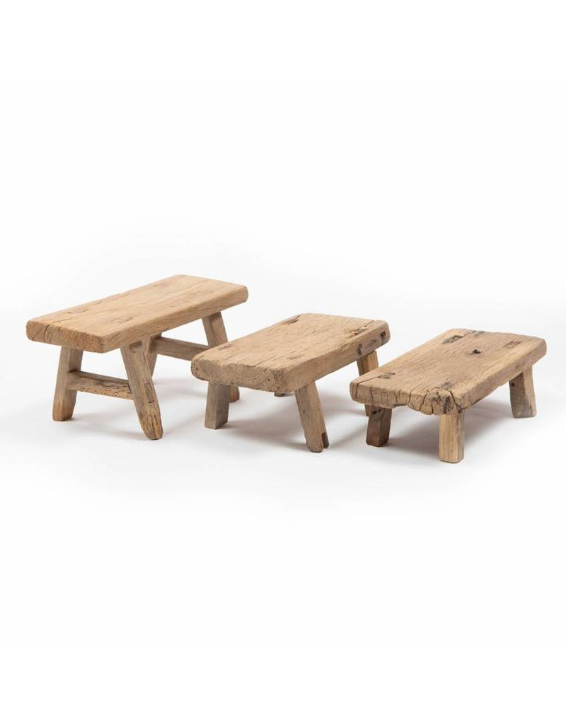 old wooden stepping stool