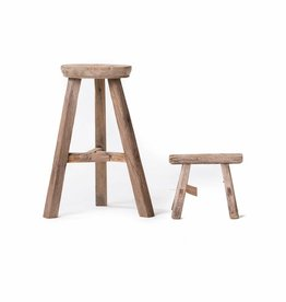 Set - Old round stool with workmen's stool