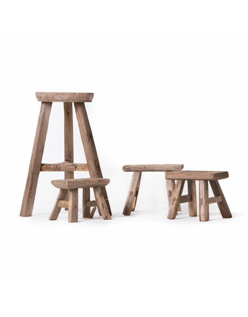 Beautiful set of weathered round wooden stool and small workman's stool(s).