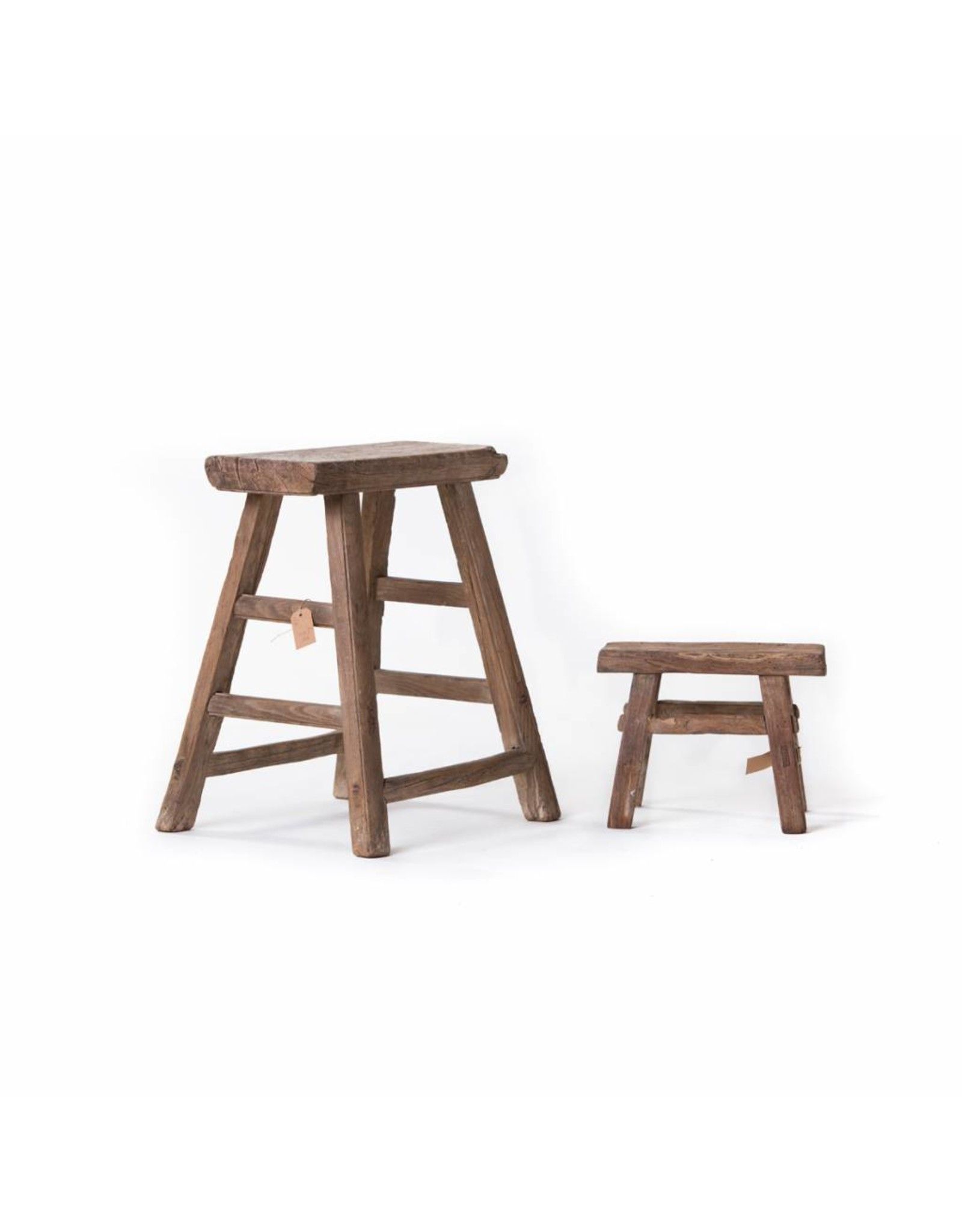 Beautiful set of old wooden stool and small workman's stool(s).