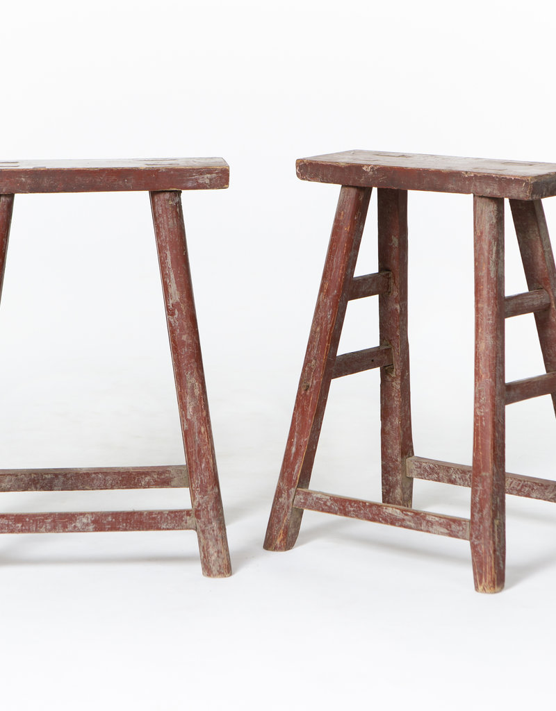 Old red student stool - beautiful stools with original student numbers