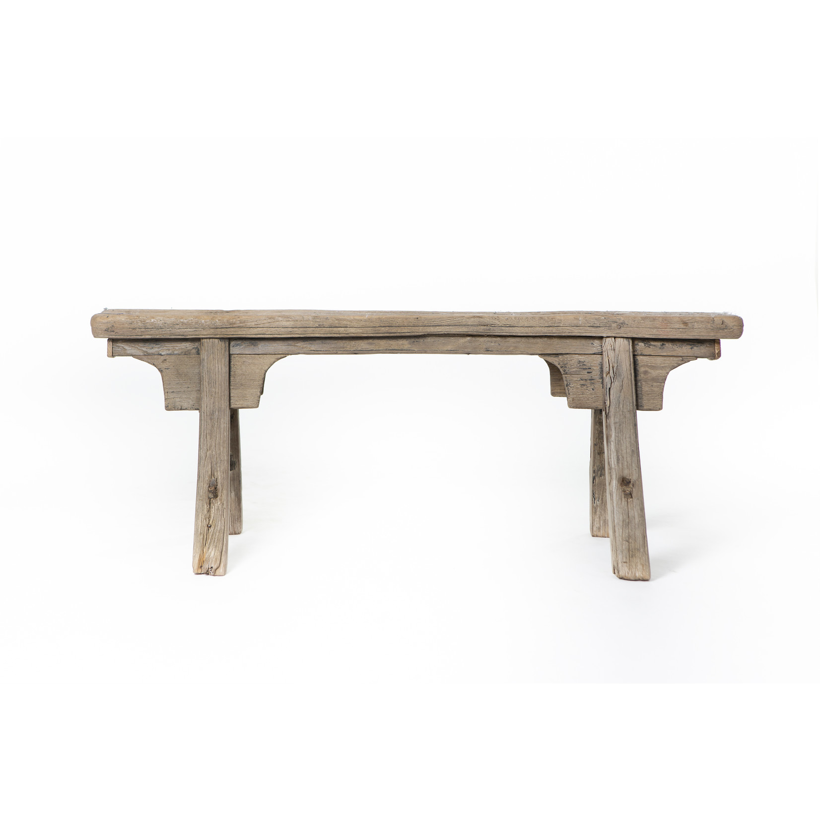 Antique Chinese wooden bench wit decorative ornaments