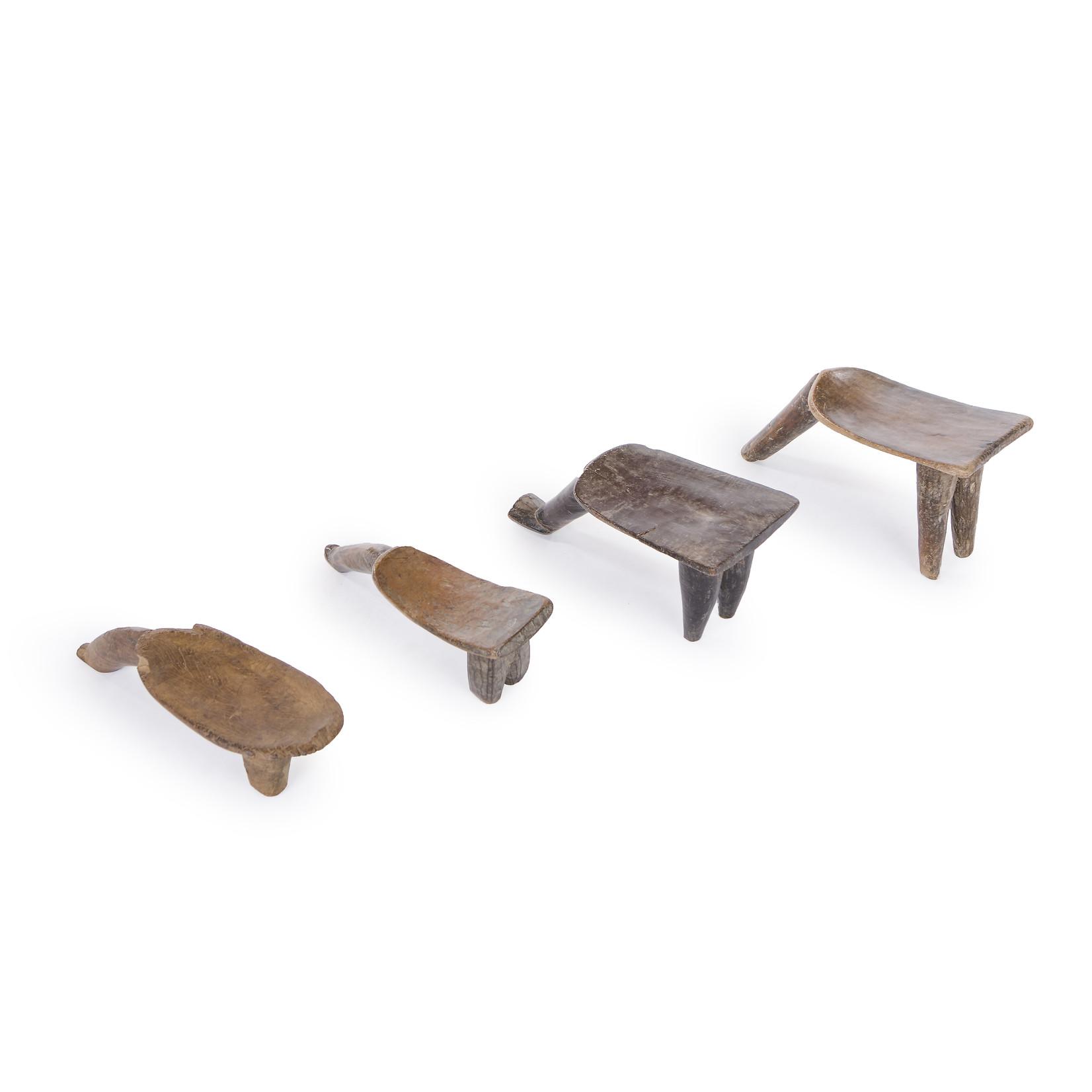 Authentic Lobi stools from Burkina Faso - Original antique African Lobi Tribe stools