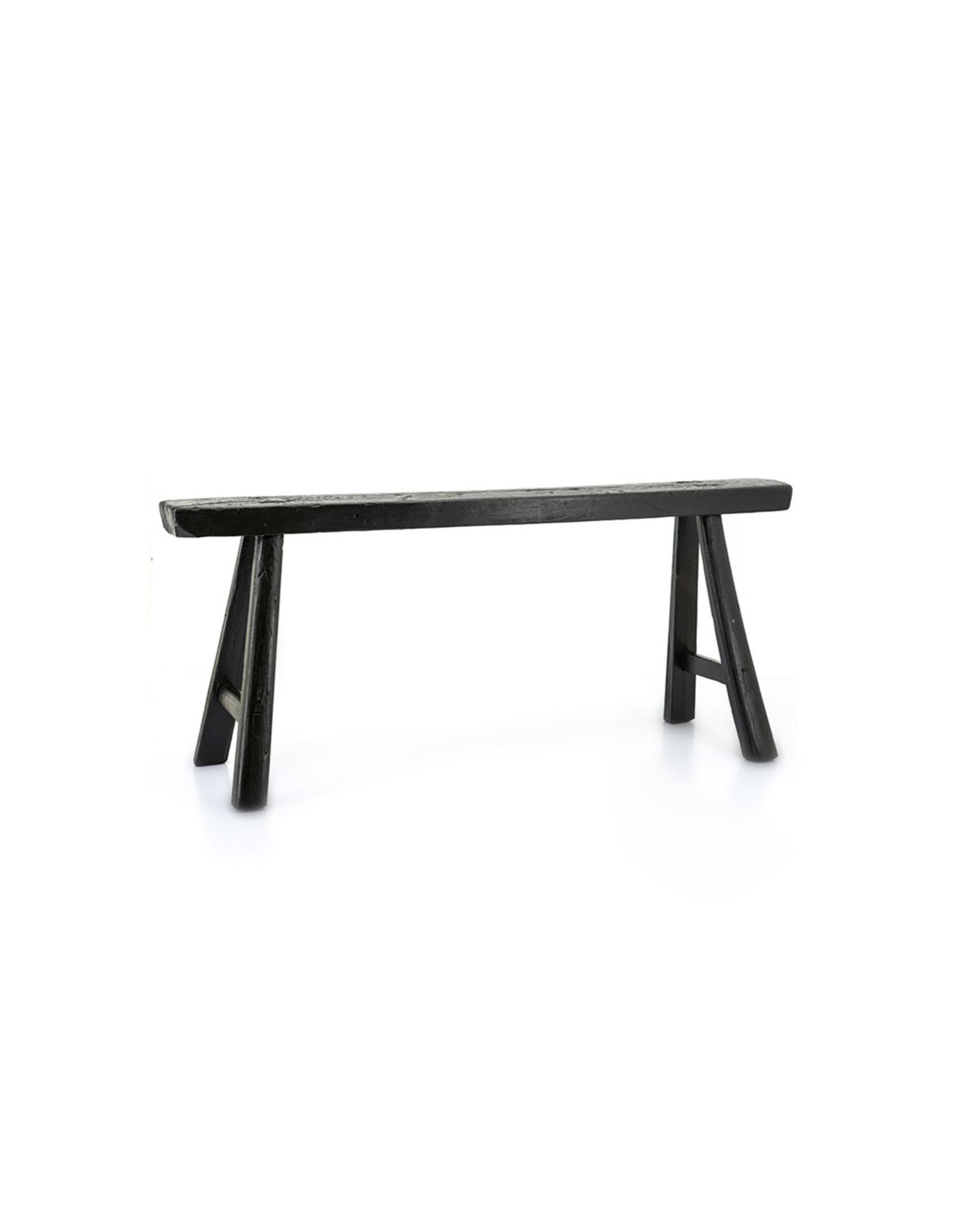 Black Chinese plain wooden bench
