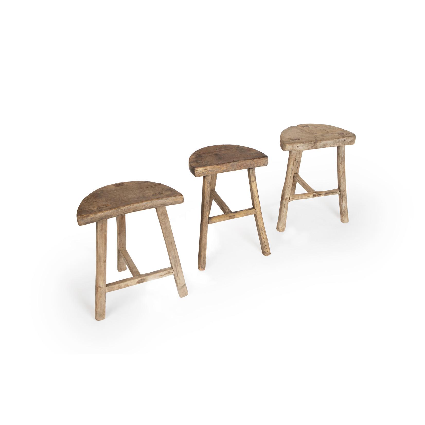 Old Chinese round stool  - half round ''moon stool''