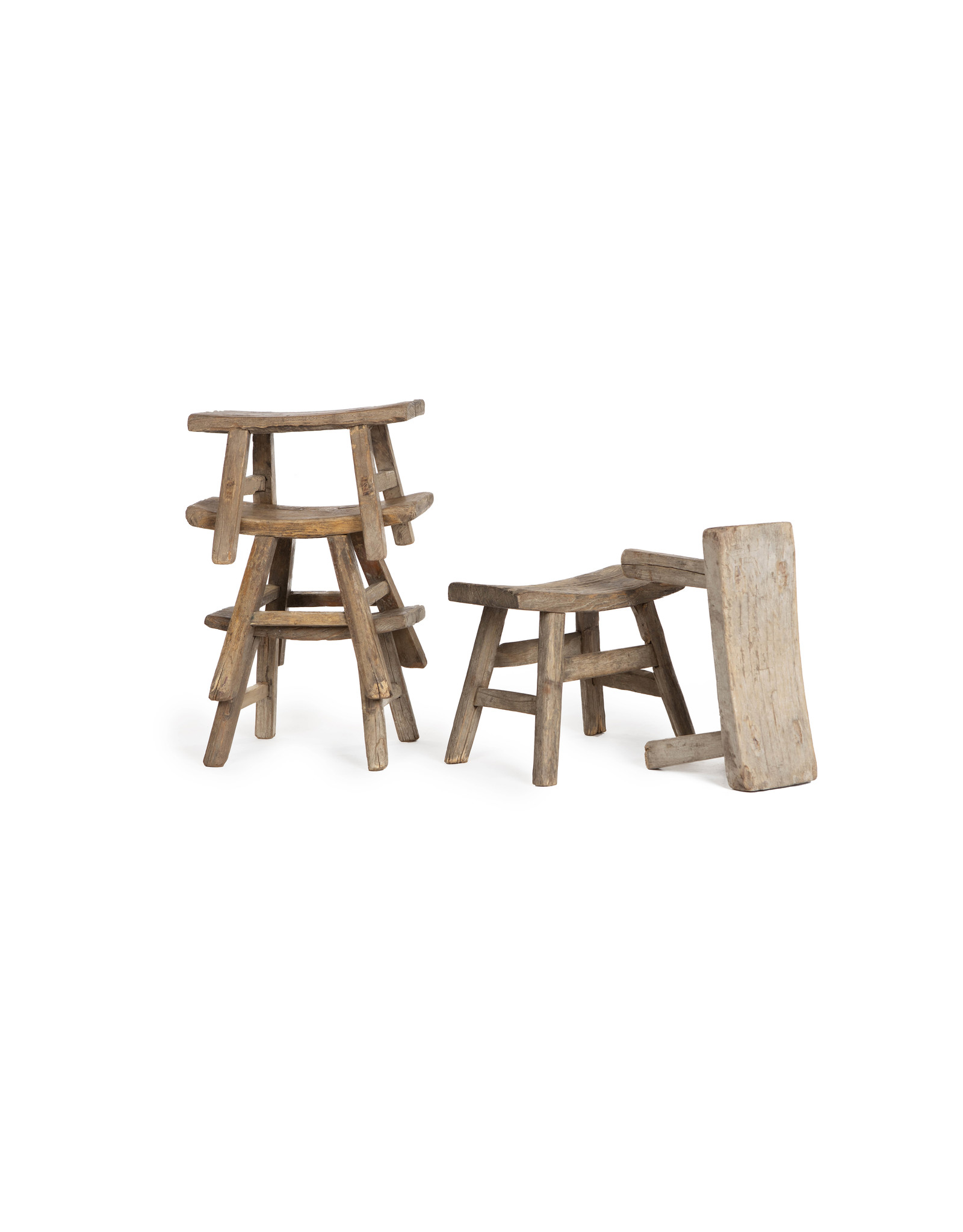 Chinese antique small wooden saddle  stools