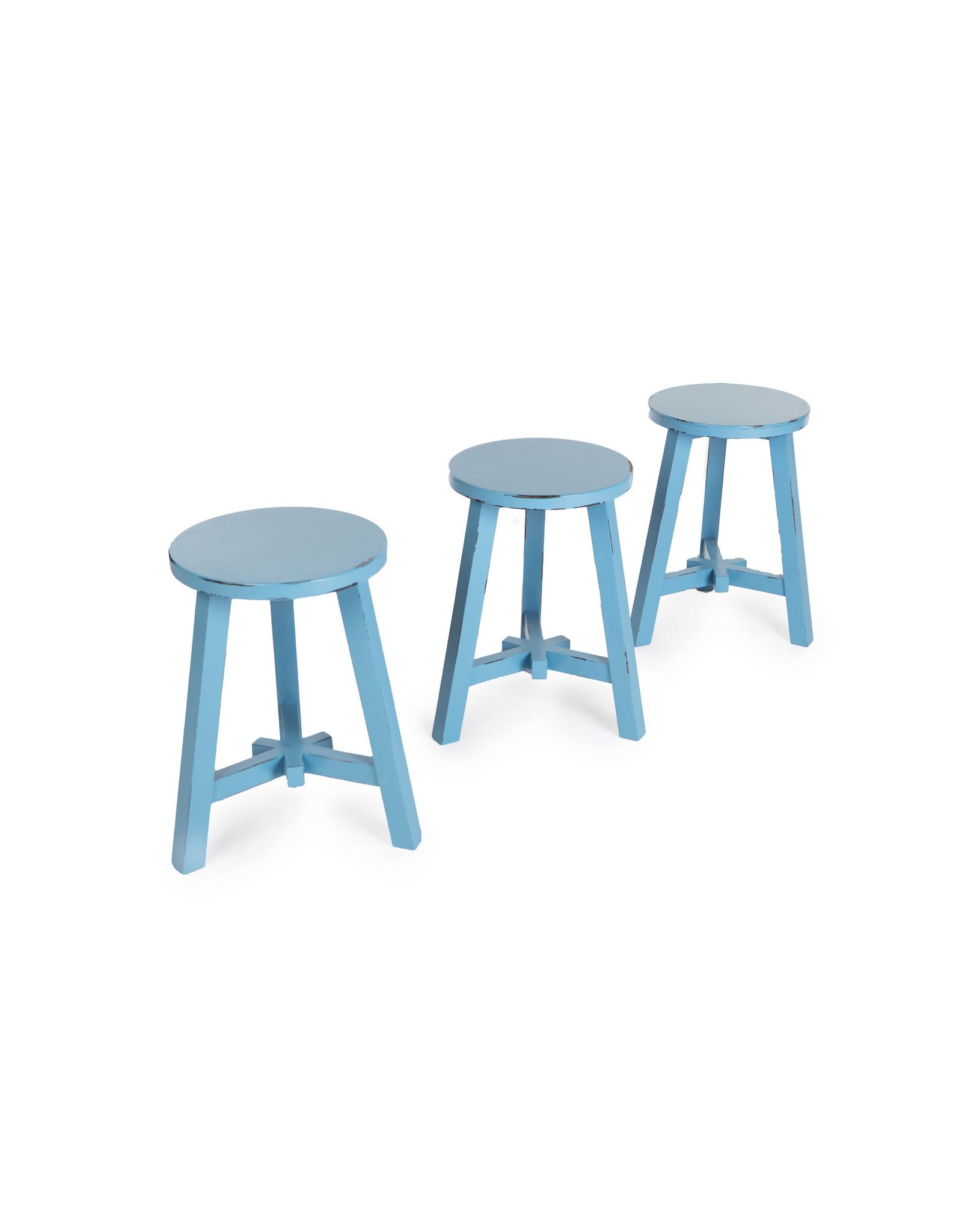round wooden stool - blue