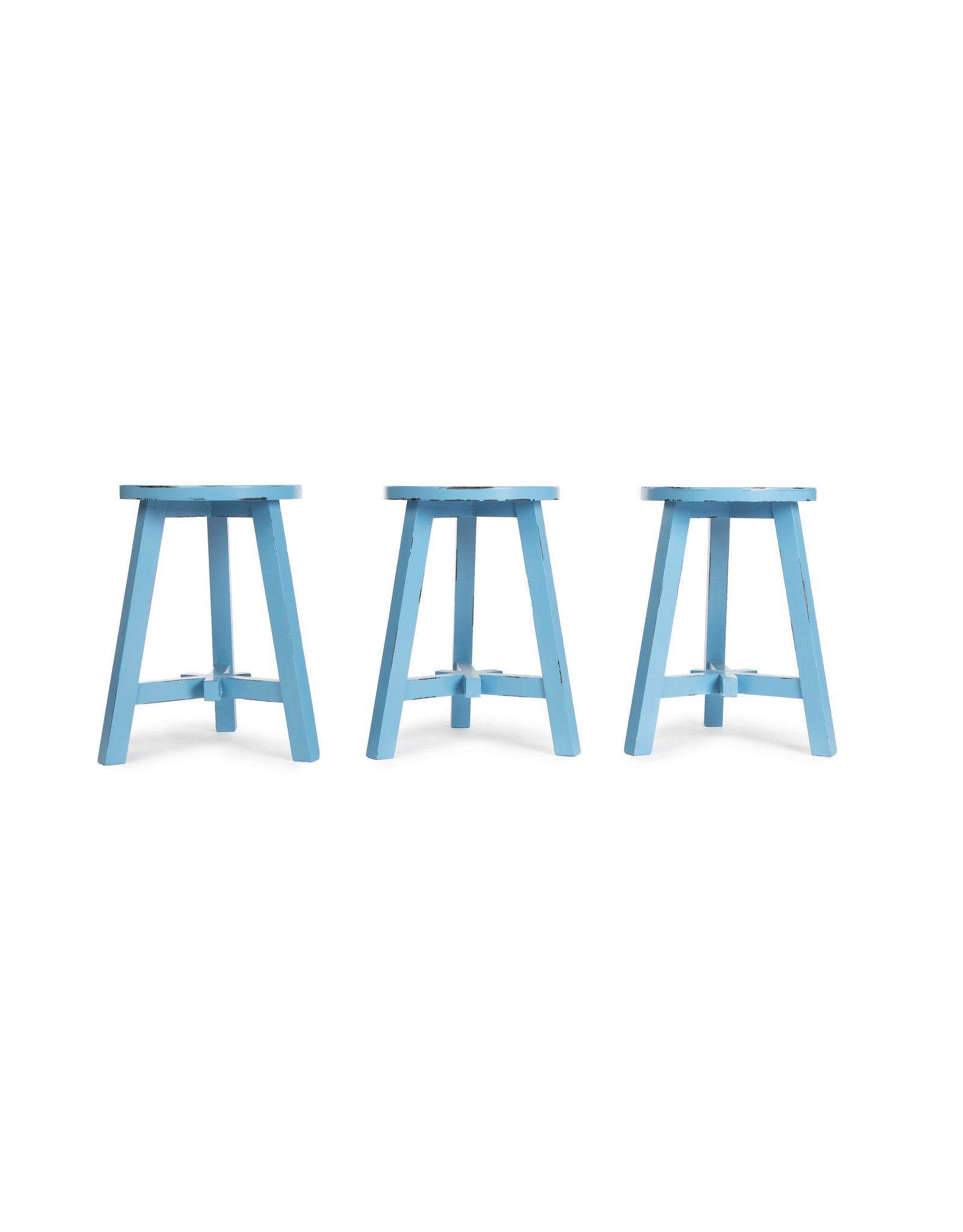 rond houten kruk- blauw