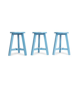 Blue round wooden stool