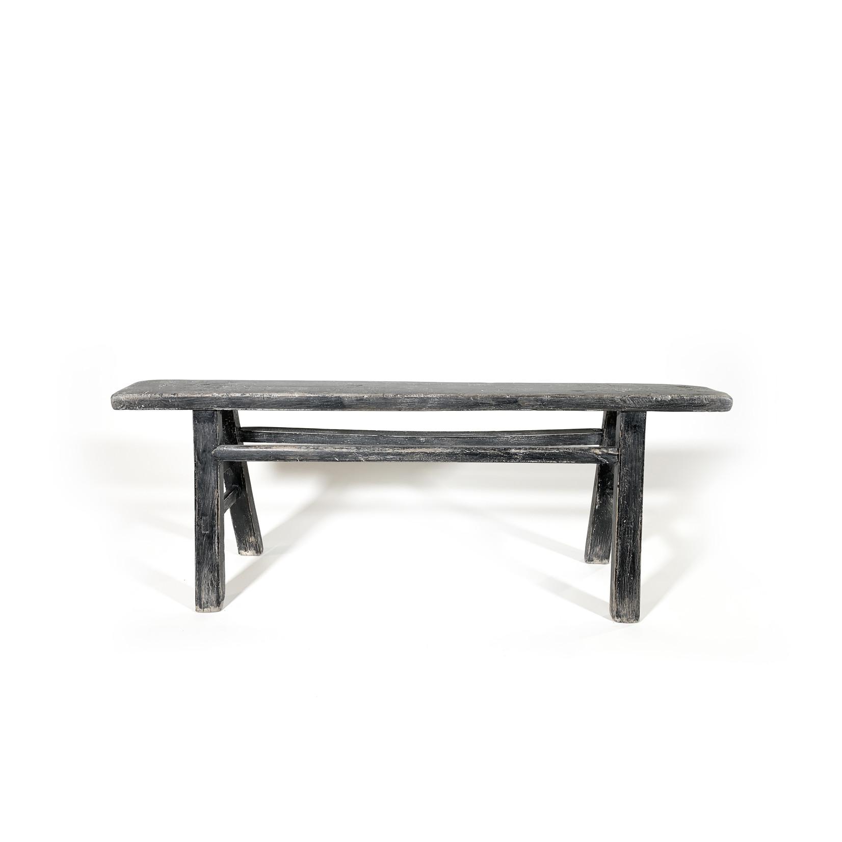 Antique Chinese wooden bench - zwart