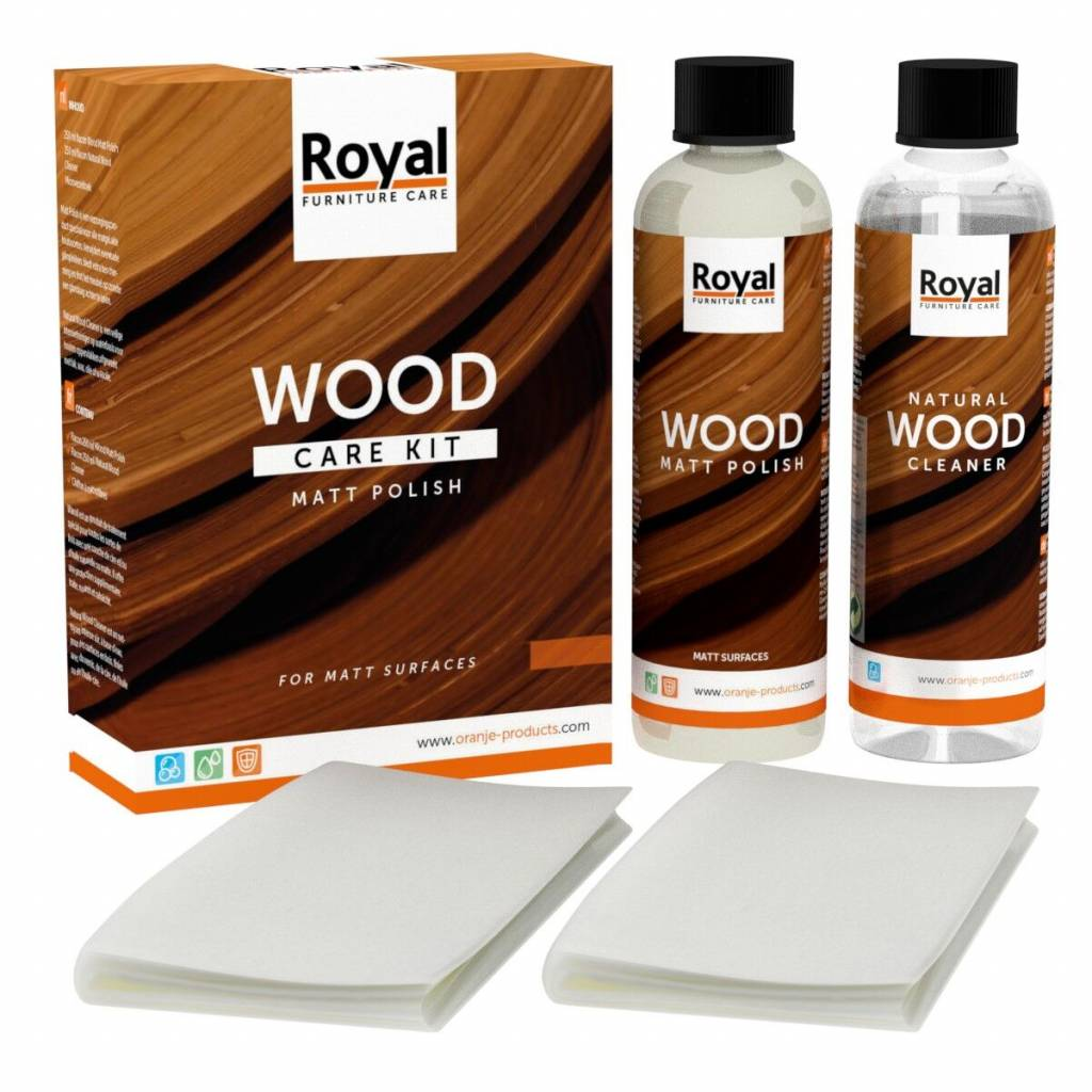 Oranje Matt Polish Wood Care Kit Cleaner 2x250ml