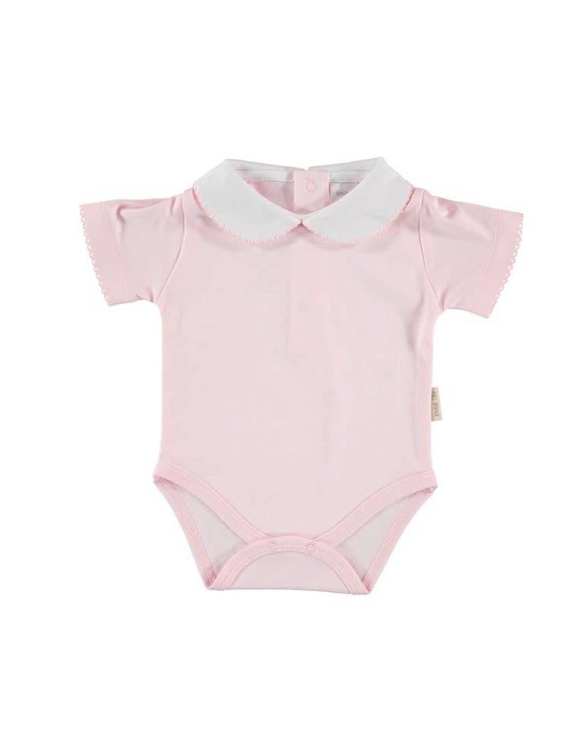 Short Sleeve Round Collar Bodysuit - Pink