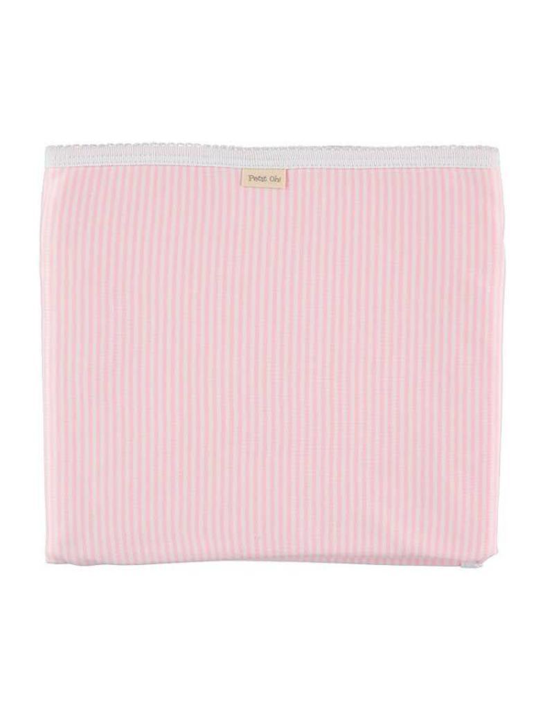 PETIT OH! Pink Stripe Cotton Blanket