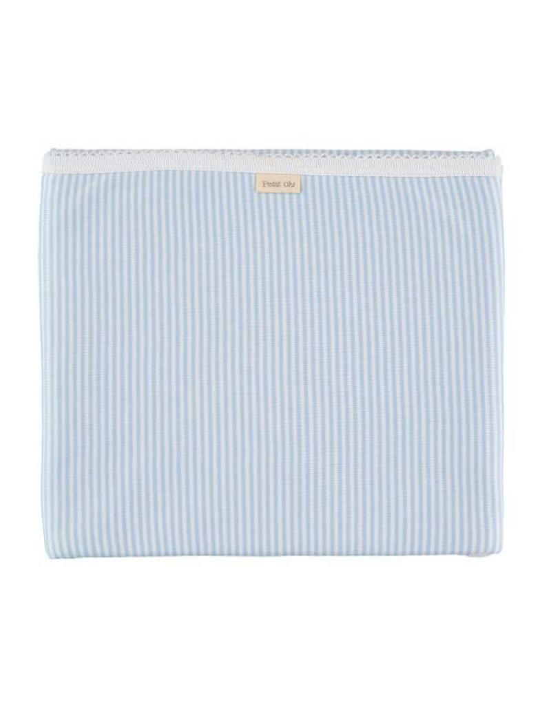 PETIT OH! Blue Stipe Cotton Blanket