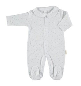 PETIT OH! White with Green Stars Sleepsuit