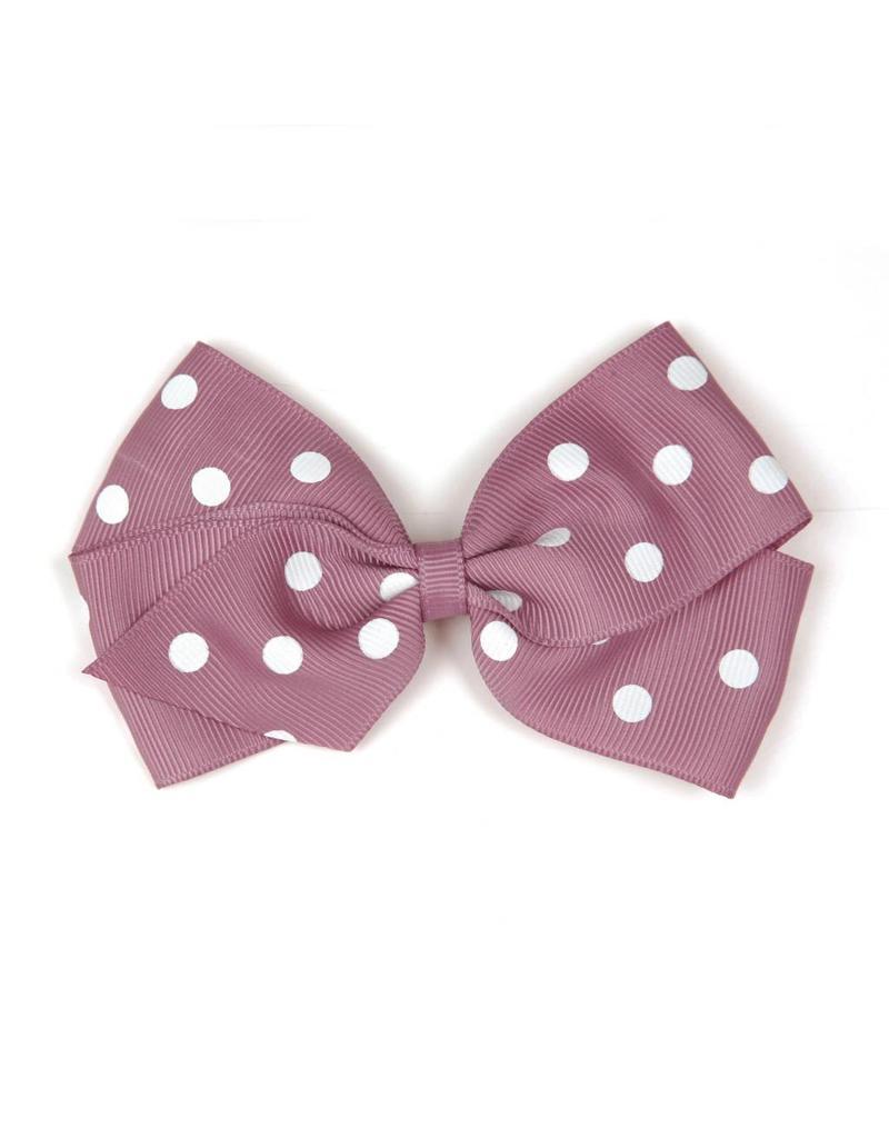 Large Rosy Mauve Polka Dot Hair Clip