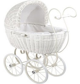 White Wickerwork Doll's Pram