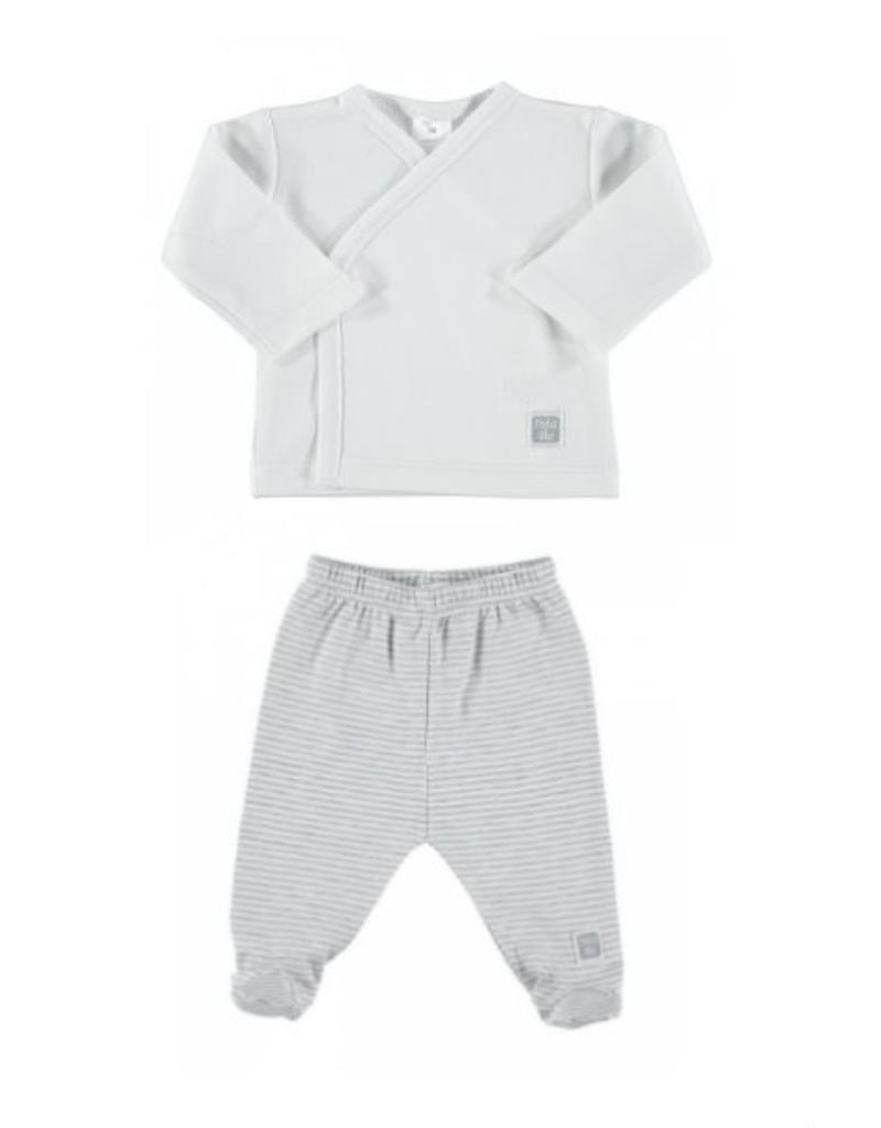 PETIT OH Outfit - White LS Side Snap Tee with Grey Stripes Footed Pants