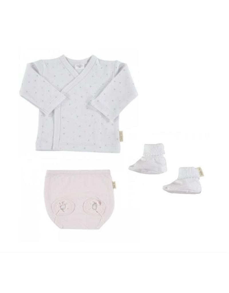 LONG SLEEVE SIDE SNAP TEE PINK STAR - NAPPY COVER PINK - BOOTIES WHITE