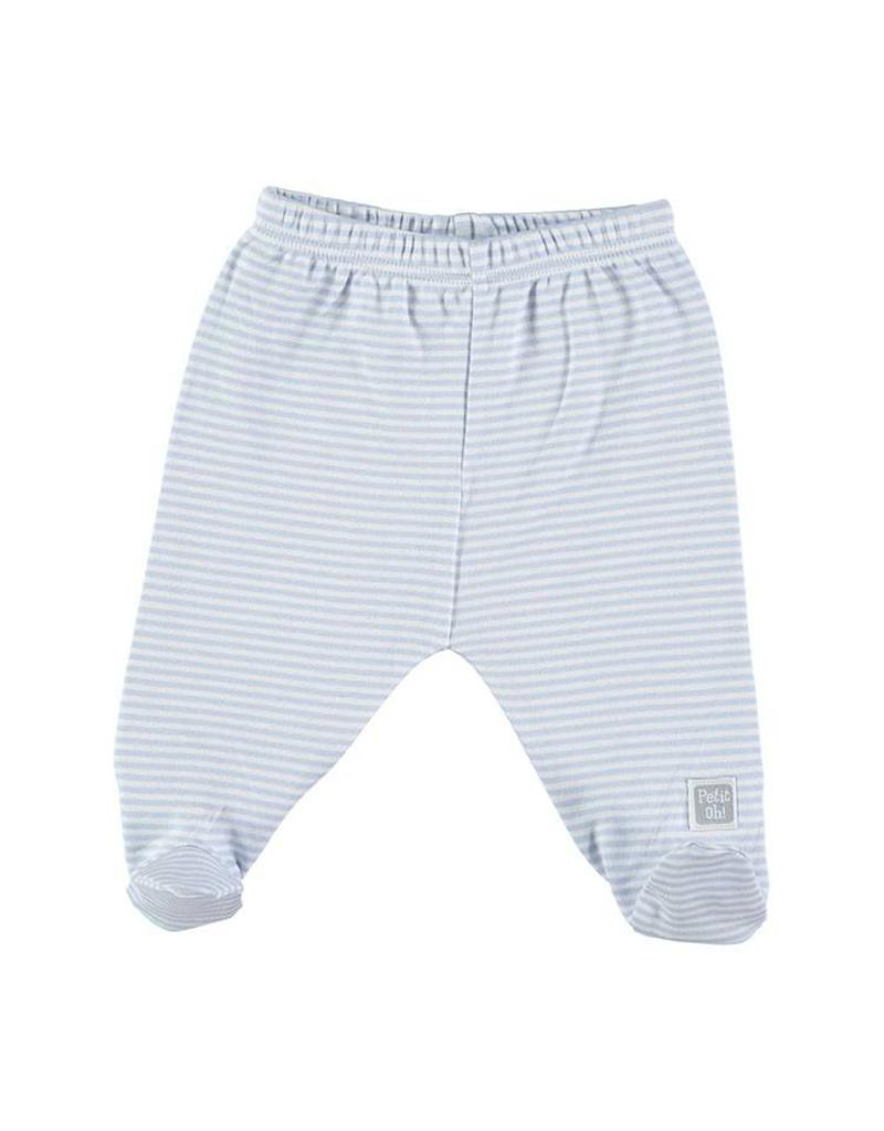PETIT OH Outfit - Blue LS Side Snap Tee with Blue Stripes Footed Pants