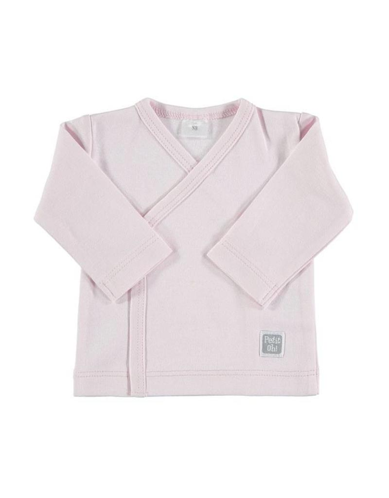 PETIT OH Outfit - Pink LS Side Snap Tee with Pink Stripes Footed Pants