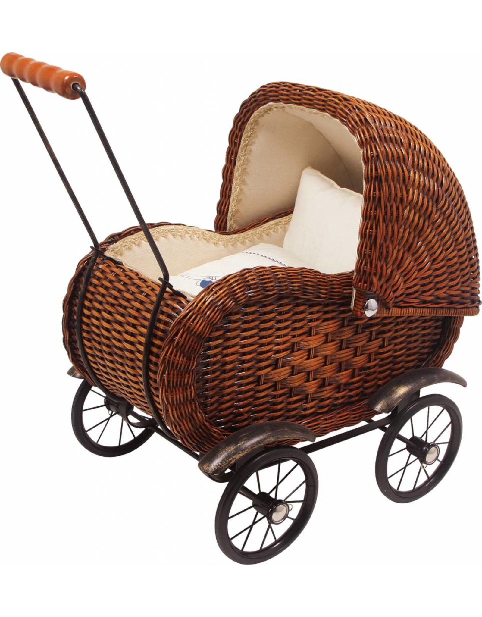 Vintage Brown Wicker Doll's Pram
