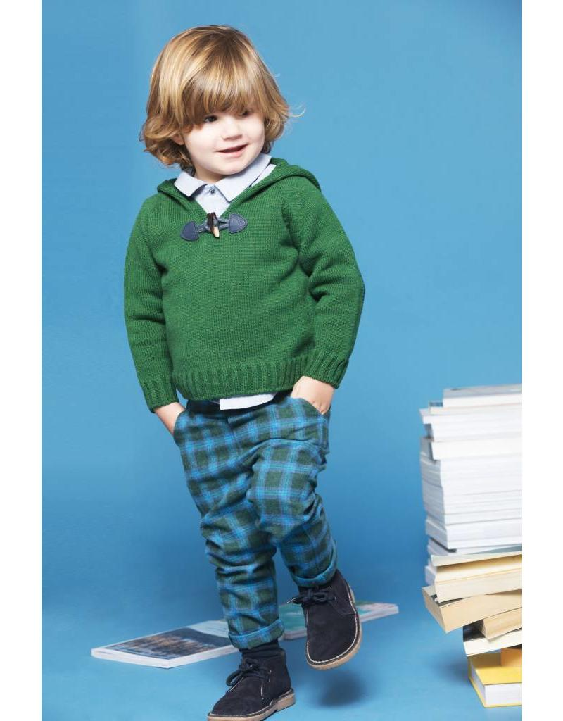 FINA EJERIQUE Boys Green Check Trousers