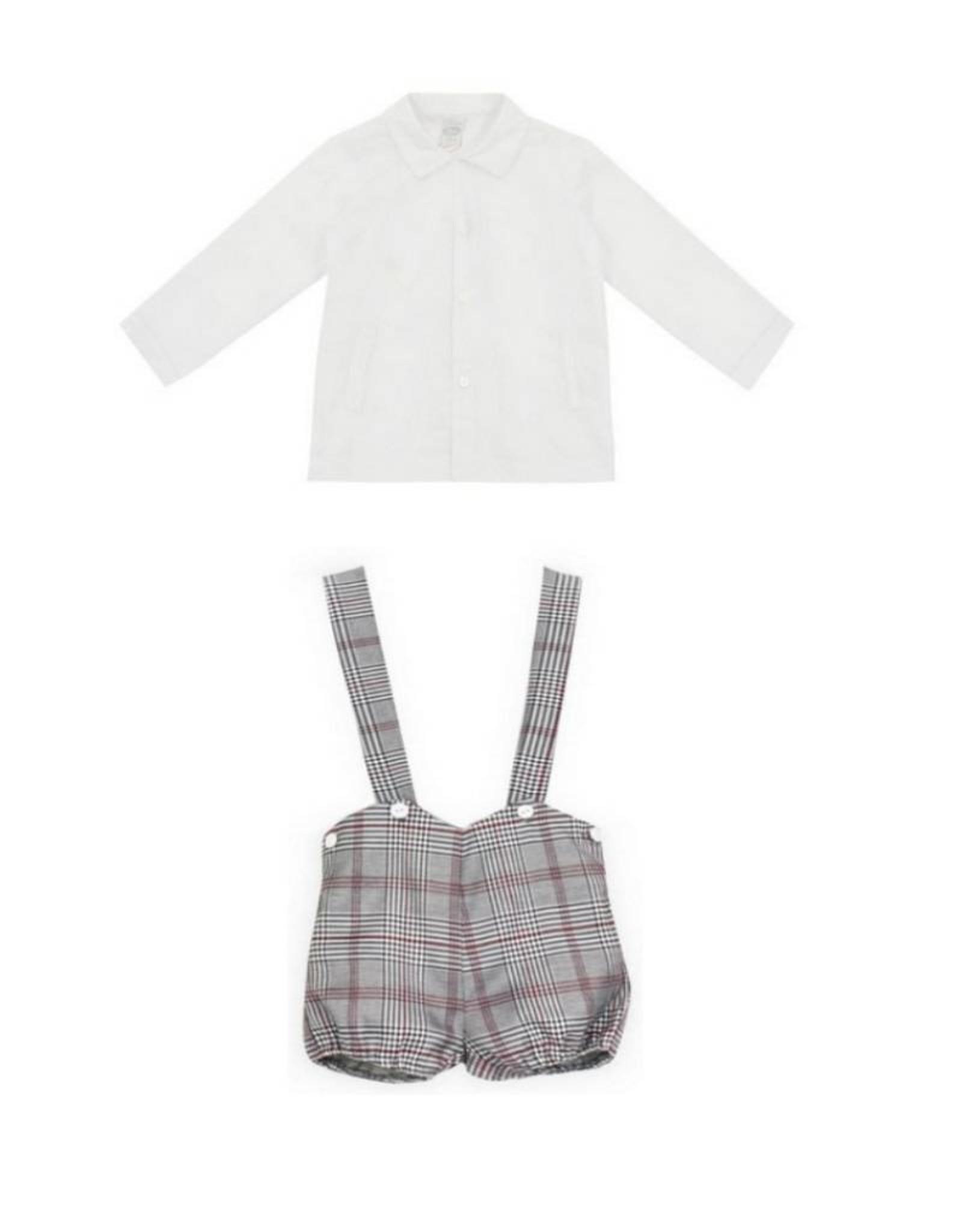 DADATI  Boys White Shirt  & Checked Shorts