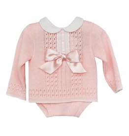 Pink Knitted Top & Bloomers Set
