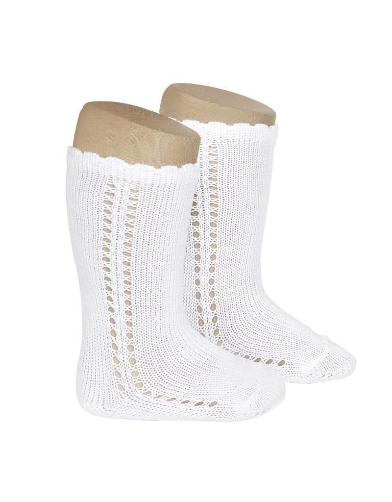CONDOR Side Openwork Knee-High Socks - White
