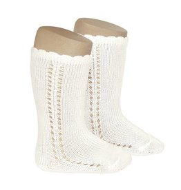 CONDOR Beige Side Openwork Knee-High Socks