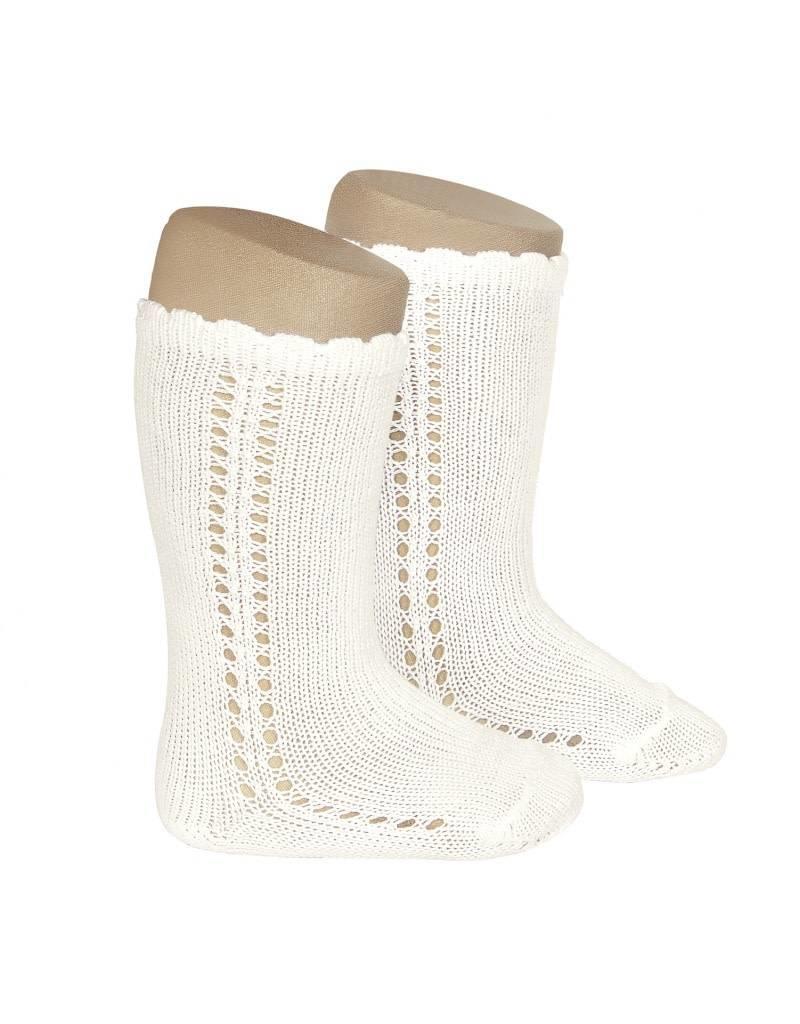 CONDOR Side Openwork Knee-High Socks - Beige