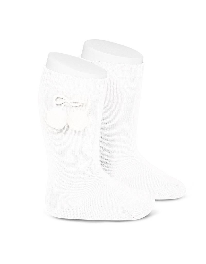 CONDOR Knee-High Pom Pom Socks - White