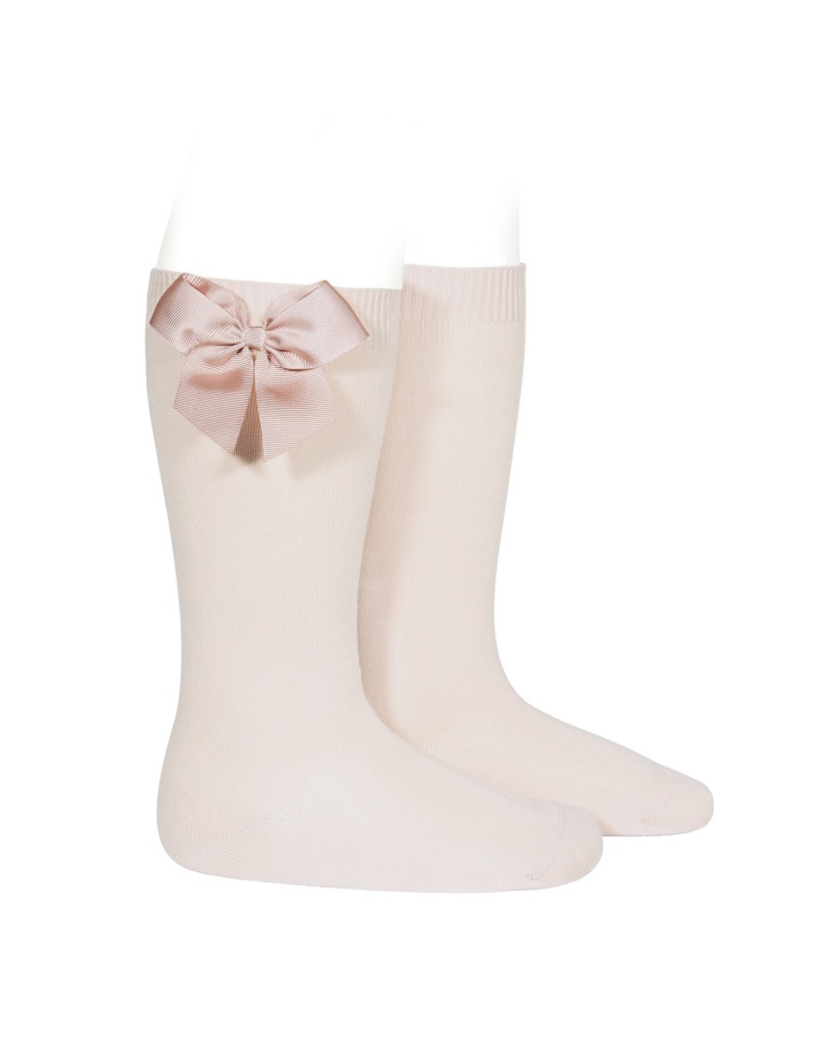CONDOR Nude Knee Socks with Bow