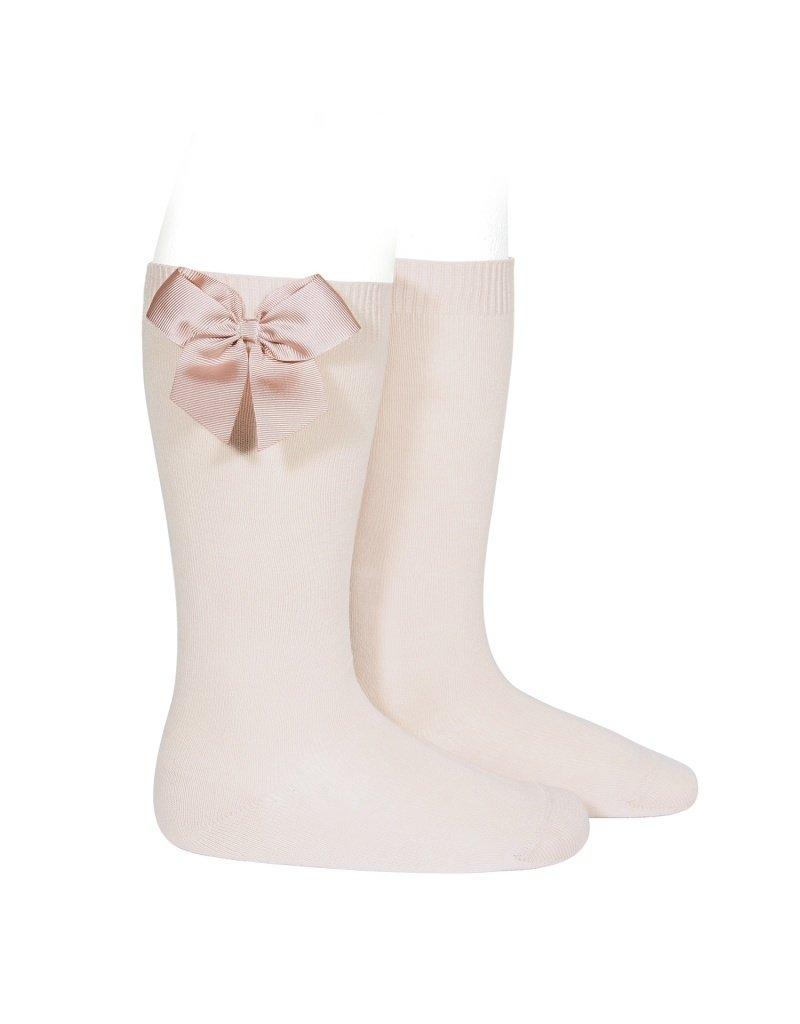 CONDOR Nude Knee-High Socks with Bow