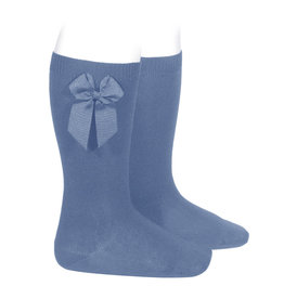 CONDOR French Blue Knee-High Socks with Bow