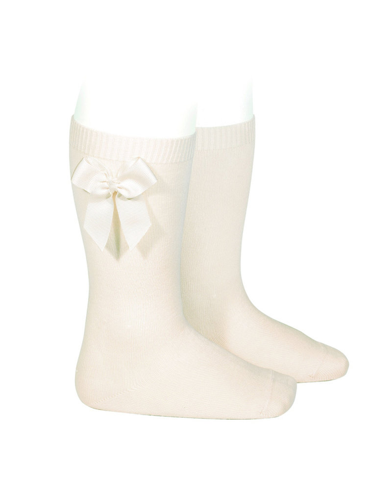 CONDOR Beige Knee-High Socks with Bow
